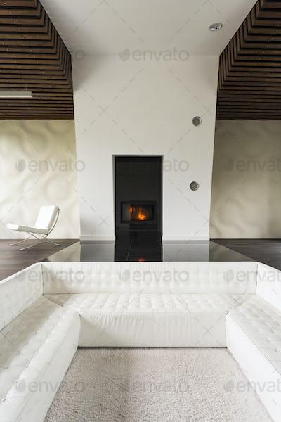 Fireplace and sofa