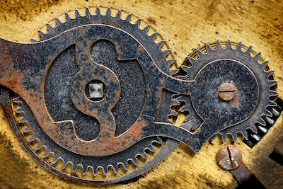 Fragment of old clock mechanism with gears