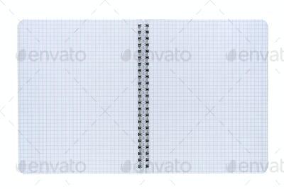 Opened copybook isolated on white background