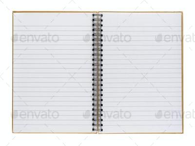 Opened notepad isolated on white background