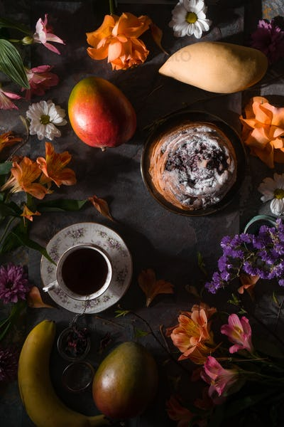 Still life of summer tea party top view