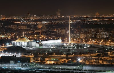Panoramic view from the height Memorial complex of Victory Park Moscow at night