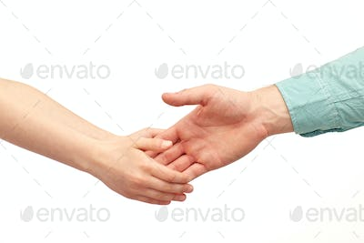 happy father and child holding hands