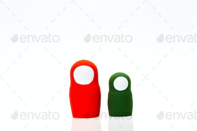 Wooden toys on a white background