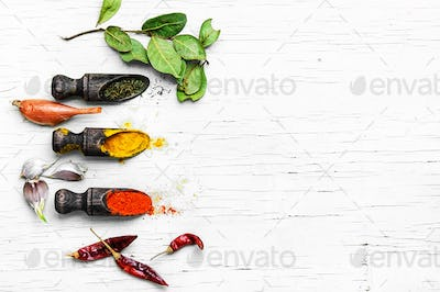 variety of hot spices