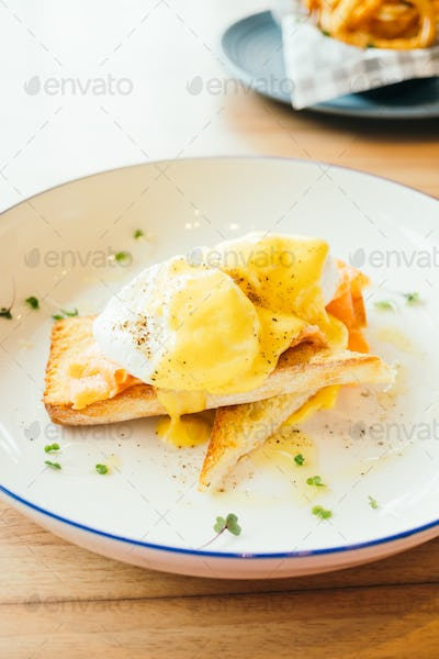 Eggs benedict with smoked salmon for breakfast