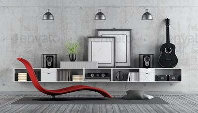Modern room to listening music