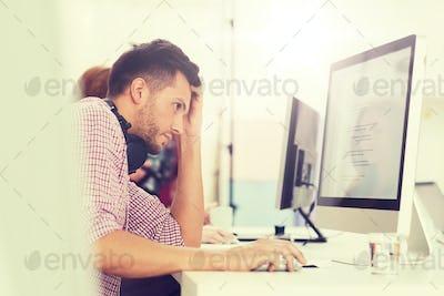 stressed software developer at office
