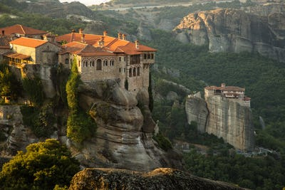 Meteora monasteries View on the Holy Monastery of Varlaam and Roussanou Monastery on background