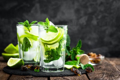 Refreshing mint cocktail mojito with rum and lime, cold drink or beverage with ice