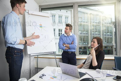 Young Businessman Explaining Chart To Male And Female Coworkers