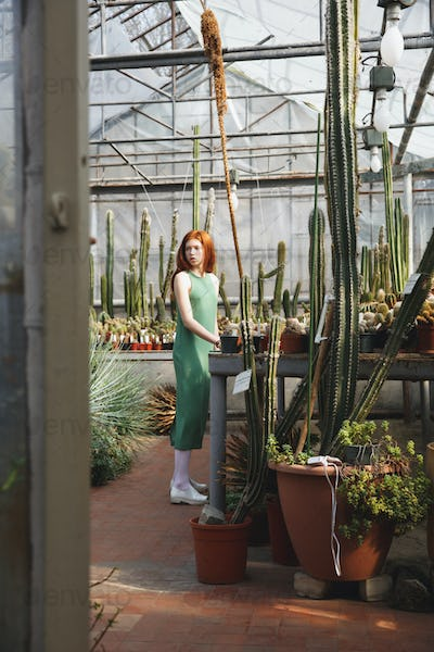 Young thoughtful woman in dress standing in a greenhouse