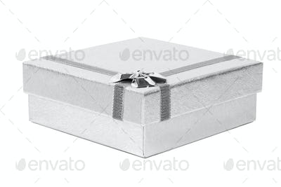 Silver decorative present box isolated on white background