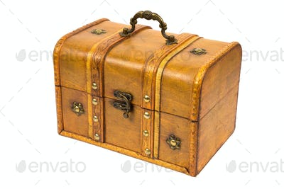 Old wooden chest on white background