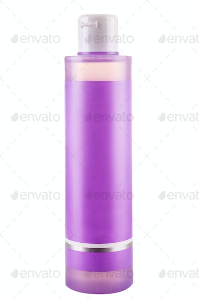 Pink cosmetic bottle over white background