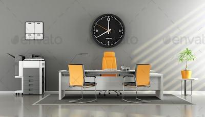 Modern gray and orange office