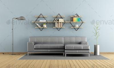 Modern living room with sofa and shelves