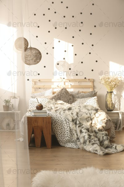 Bedroom with decorative lamps