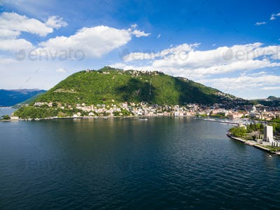 aerial photography view of Como city and lake near Milan in Ital
