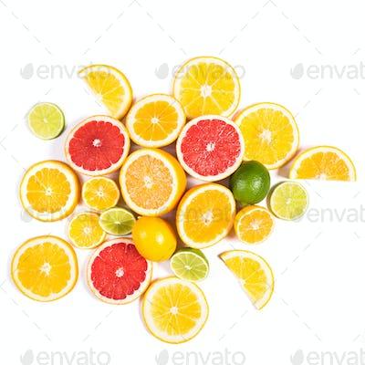 Citrus background. Assorted fresh citrus fruit. Isolated