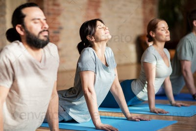 group of people doing yoga dog pose at studio