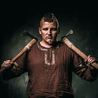 Viking with two battle axes