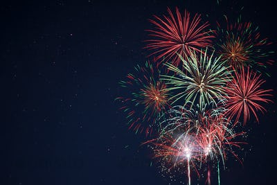 Sparkling red green yellow fireworks
