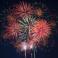 Sparkling red green yellow celebration fireworks
