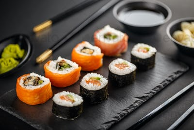 Fresh and delicious sushi set