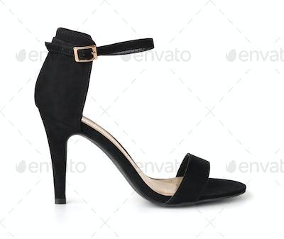 Black suede high heel shoe