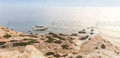 View of the beach with white rocks. Cyprus