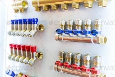 Floor heating collectors, plumbing shop