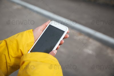 Close-up shot of blank screen of smartphone