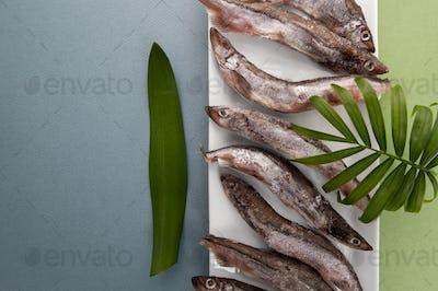 Raw fresh-frozen capelin close-up on a light blue-green backgrou