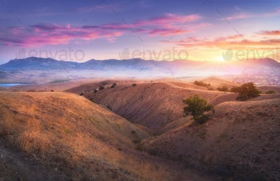Mountain landscape and colorful blue sky