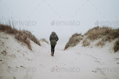 Walking on the winter beach