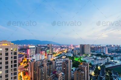 jiujiang cityscape in nightfall