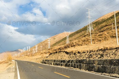 empty road on plateau of autumn