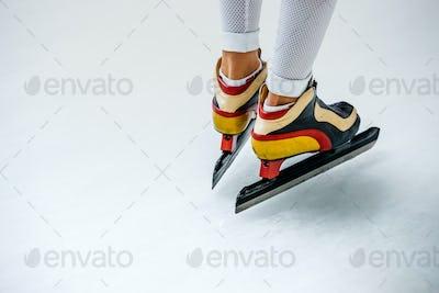Closeup of Feet of Woman Speed Skater