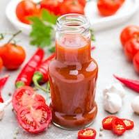 Tomato ketchup, chilli sauce, tomatos puree with chili pepper, tomatoes and garlic