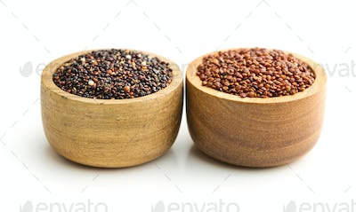 Red and black quinoa seeds.