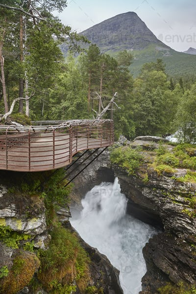 Norway landscape with viewpoint and river. Gudbrandsjuvet, Valldal. Vertical