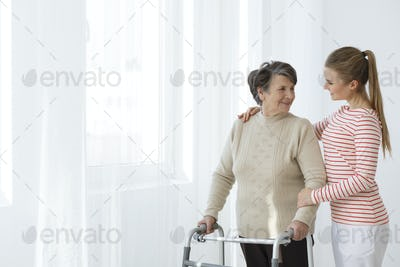 Grandma with a walker