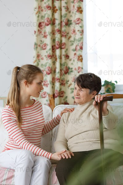 Girl worrying about her grandma