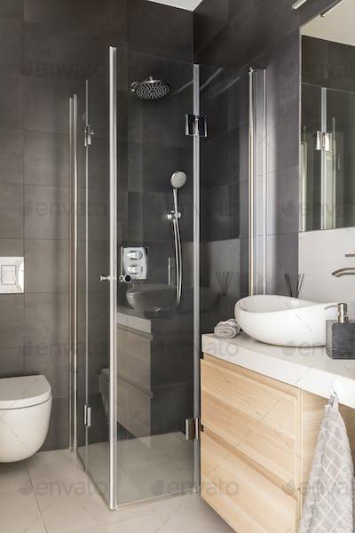 Elegant luxury grey bathroom interior