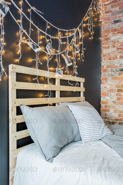Bed headboard with decoration