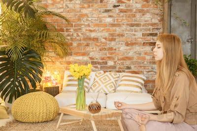 Meditating in room