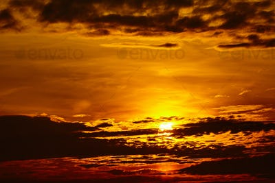 sunset sky background. Fiery orange sunset