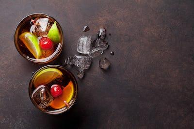 Cuba libre cocktail glasses