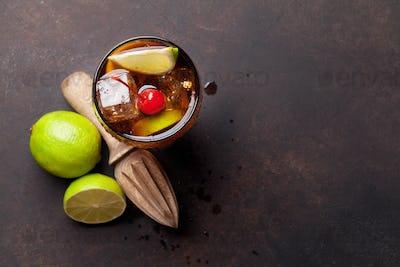 Cuba libre cocktail glass
